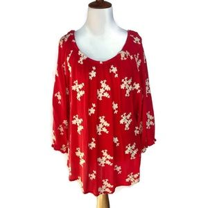 Soft Surroundings Red Floral Rayon Blouse Size XL
